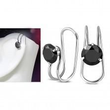 Fake piercing do ucha, oceľ 316L, strieborná farba, okrúhly čierny zirkón