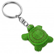 Kľúčenka - zelená FIMO korytnačka s čierno-bielymi očami, magnet