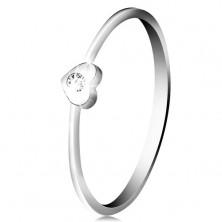 Diamantový prsteň z bieleho 14K zlata - srdiečko s čírym briliantom