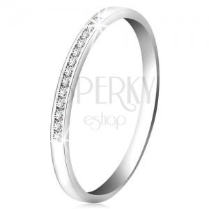 Briliantový prsteň z bieleho 14K zlata - ligotavá línia drobných čírych diamantov