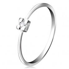 Prsteň v bielom 14K zlate - diamant čírej farby v hranatom kotlíku