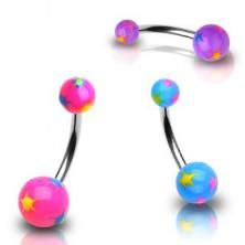 Piercing do pupku rôznofarebné hviezdičky
