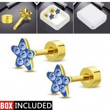 Oceľové šrubovacie náušnice zlatej farby, ligotavý kvietok z modrých zirkónov