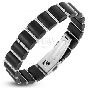Oceľovo-gumený náramok, čierne obdĺžniky a úzke valčeky striebornej farby