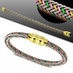 Náramok s farebným pleteným vzorom, magnetické zapínanie zlatej farby