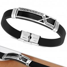 Náramok z čiernej gumy, známka s asymetrickou líniou a gréckym kľúčom