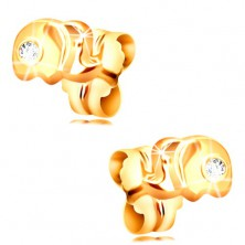 Zlaté 14K náušnice s puzetkami - malý sloník s čírym zirkónom