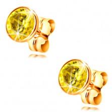Náušnice v žltom 14K zlate - objímka so žltým okrúhlym zirkónom, 5 mm