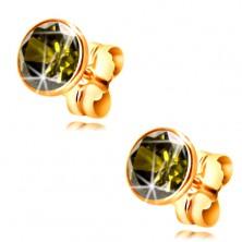 Zlaté 14K náušnice - okrúhly zirkón olivovej farby v objímke, 5 mm