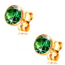 Zlaté náušnice 585 - okrúhly smaragdovo zelený zirkón v objímke, 5 mm