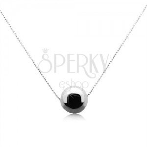 Strieborný 925 náhrdelník s lesklou sivočiernou guličkou z hematitu
