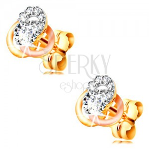 Zlaté 14K náušnice - trojfarebný uzol z obručí, okrúhle číre zirkóny