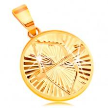 Zlatý prívesok 585 - lesklé lúčovité zárezy, znamenie zverokruhu STRELEC