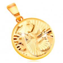 Okrúhly prívesok v 14K žltom zlate - ligotavé lúčovité ryhy, znamenie ŠKORPIÓN