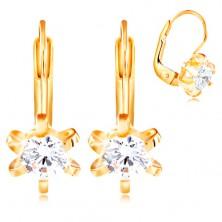 Zlaté 14K náušnice - kvet s oblými lupeňmi, okrúhly číry zirkón, 4,5 mm