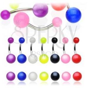 Piercing do pupka - farebná gulička s dúhovým efektom