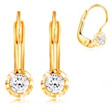 Zlaté 14K náušnice - okrúhla objímka so zárezmi, brúsený číry zirkón, 3 mm