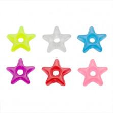 Prívesok na piercing - farebná akrylová hviezdička