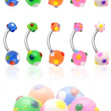 Piercing do pupku viacfarebné bodky