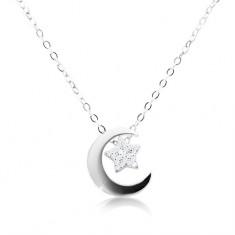 Šperky eshop - Strieborný náhrdelník 925, retiazka a prívesok, cíp mesiaca a hviezda AC06.28