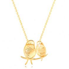 11d33d6c8 Šperky eshop - Náhrdelník v žltom 14K zlate - dva ligotavé vtáčiky, tenká  retiazka GG211