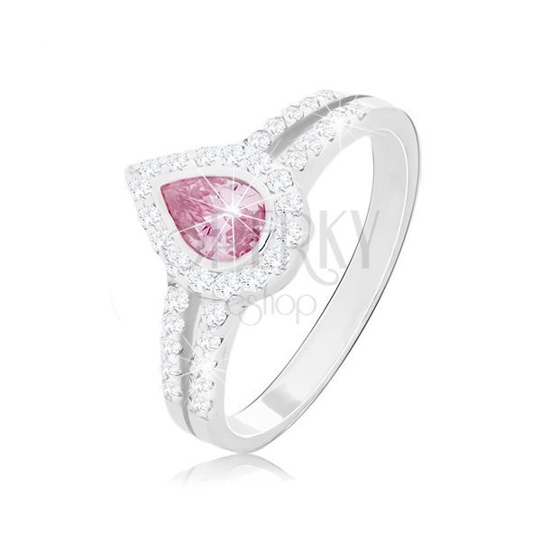 Zásnubný prsteň zo striebra 925, ružová kvapka medzi dvoma líniami zirkónikov
