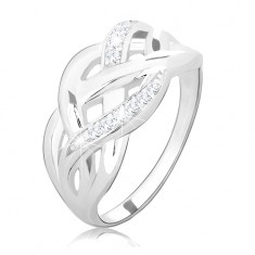 ccc6b0235 Šperky eshop - Strieborný prsteň 925, prepletené hladké a zirkónové línie,  vysoký lesk M12
