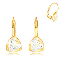 Šperky eshop - Náušnice zo 14K zlata - dvojfarebný zaoblený trojuholník so zárezmi GG210.03