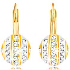 Šperky eshop - Zlaté 14K náušnice - polgulička s pásmi bieleho a žltého  zlata 8e86068ecc5