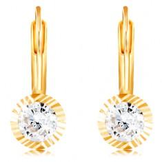 f2adc98d4 Šperky eshop - Zlaté náušnice 585 - okrúhla objímka so zárezmi, brúsený  číry zirkón,