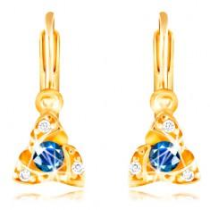 9b2551032 Šperky eshop - Náušnice v žltom zlate 585 - tmavomodrý zirkón, tri malé  oblúčiky GG210