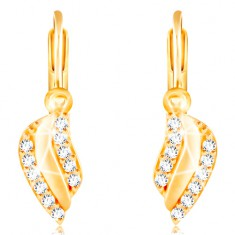 79257de7d Šperky eshop - Zlaté náušnice 585 - lesklý zvlnený list s líniami čírych  zirkónikov GG210.
