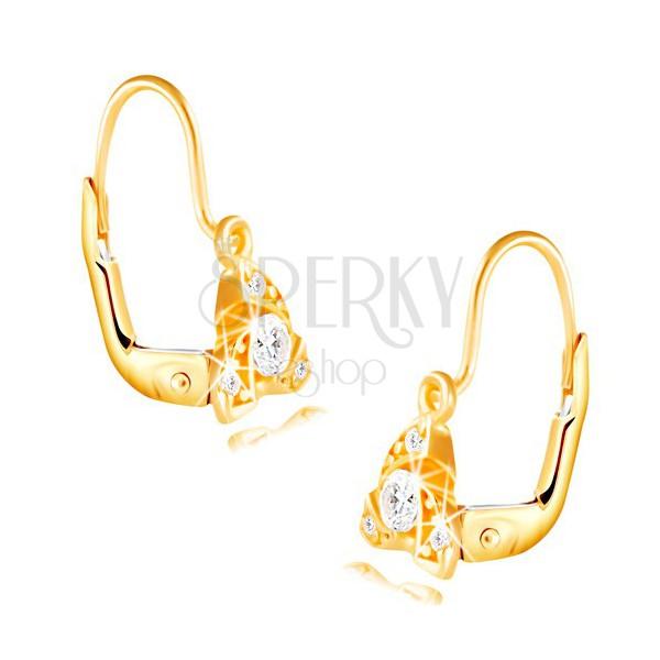 bad01f732 ... Náušnice zo žltého 14K zlata - tri malé oblúčiky, okrúhly číry zirkón  ...