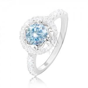 Strieborný 925 prsteň - svetlomodrý zirkón, ornamenty, zirkónová obruč a ramená