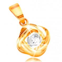 34a548779 Šperky eshop - Prívesok zo zlata 585 - okrúhly zirkón čírej farby, lesklé  prepletené línie