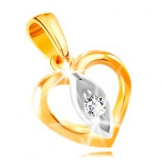 bb2552e18 Šperky eshop - Prívesok zo 14K zlata - obrys srdiečka, zrnko s čírym  zirkónom v strede GG211.55