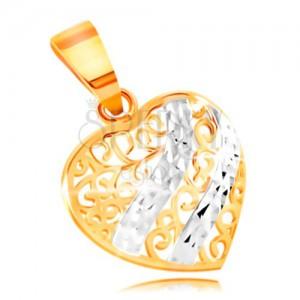 14a7de330 Zlatý prívesok 585 - vypuklé srdce zdobené filigránom a vlnkami z bieleho  zlata