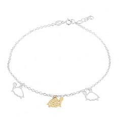 Šperky eshop - Retiazka na nohu zo striebra 925, tri korytnačky zlatej a striebornej farby AC07.29