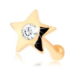 Rovný piercing do nosa zo žltého 14K zlata - malá lesklá hviezdička s diamantom