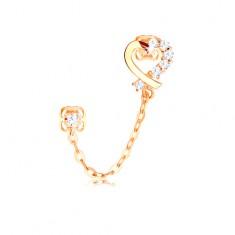 Šperky eshop - Diamantová náušnica zo žltého 14K zlata, kontúra srdca, číre brilianty a retiazka BT503.42