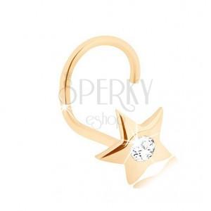 Zlatý 14K piercing do nosa - ligotavá hviezdička s brúseným diamantom