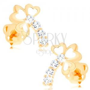 Zlaté diamantové náušnice 14K - trojlístok s trblietavou stonkou, číre brilianty
