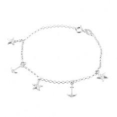 Šperky eshop - Náramok zo striebra 925, hviezdice a kotvy, retiazka z okrúhlych očiek SP01.01