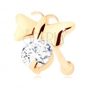 Briliantový piercing do nosa v žltom 14K zlate - lesklý motýlik a číry diamant