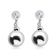 Šperky eshop - Strieborné náušnice 925, okrúhly číry zirkón s visiacou guličkou SP02.25