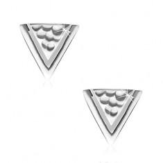 Náušnice zo striebra 925, trojuholník s jamkami a úzkym výrezom