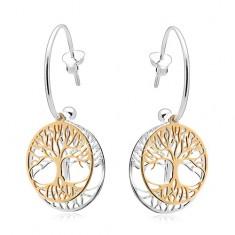 Šperky eshop - Dvojfarebné náušnice zo striebra 925, neúplný kruh, strom života v obruči SP03.19