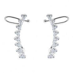 Šperky eshop - Náušnice zo striebra 925 - oblúk zo zirkónových srdiečok, puzetky a háčiky SP04.31