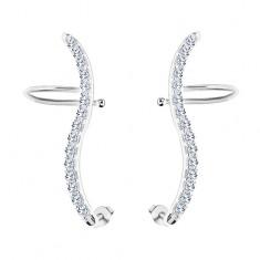 Šperky eshop - Náušnice zo striebra 925 - číra zirkónová vlnka, puzetky a háčiky SP05.15