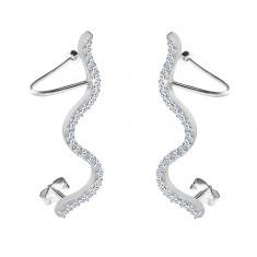 Šperky eshop - Náušnice zo striebra 925 - číry zirkónový hadík, puzetky a háčiky SP06.17